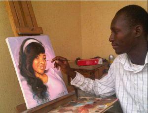 ayodeji ayeola painting portrait of Yetunde Eniola Dunia
